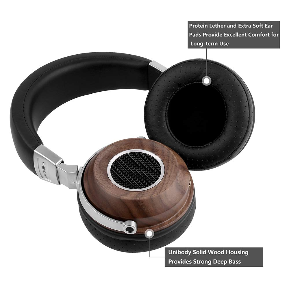 SIVGA SV004 Hi-Fi Wood Over-Ear Stereo Open Back Wired Headphones Passive Noise Cancelling, Built-in Mic, Soft Earmuffs with Carrying Case Walnut