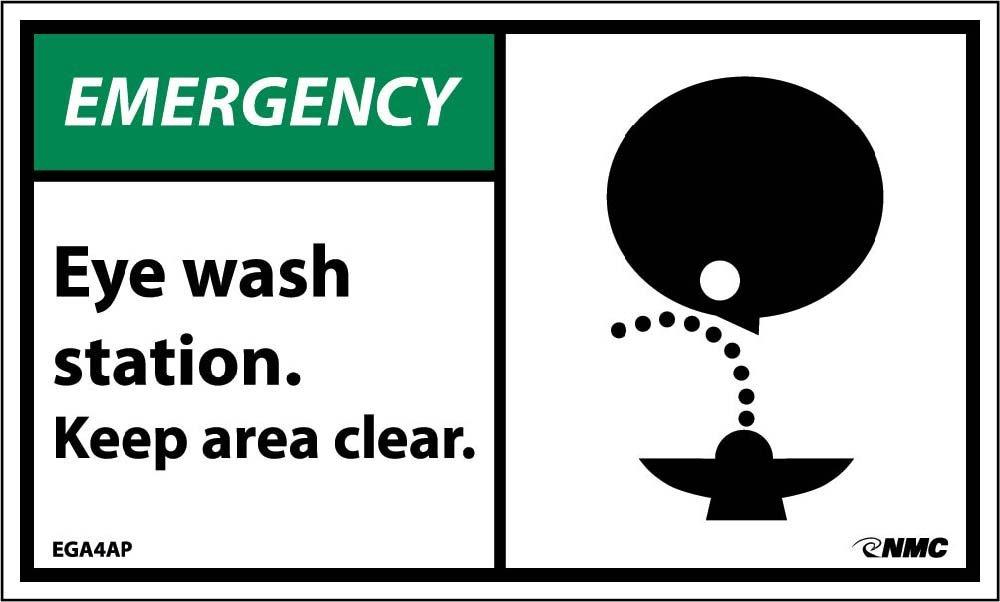 EGA4AP National Marker Emergency Eye Wash Station Keep Area Clear Label (Pack of 5)