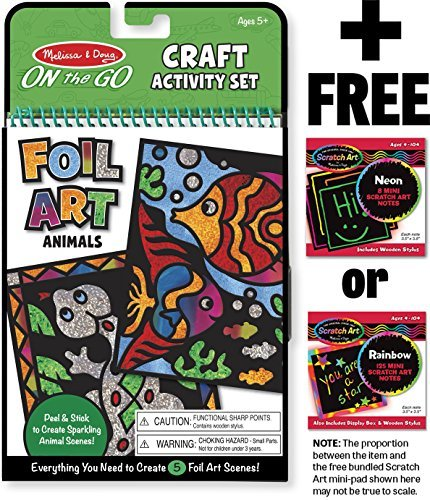 Foil Art - Animals: On-the-Go Crafts Book + FREE Melissa & Doug Scratch Art  Mini-Pad Bundle [94214]