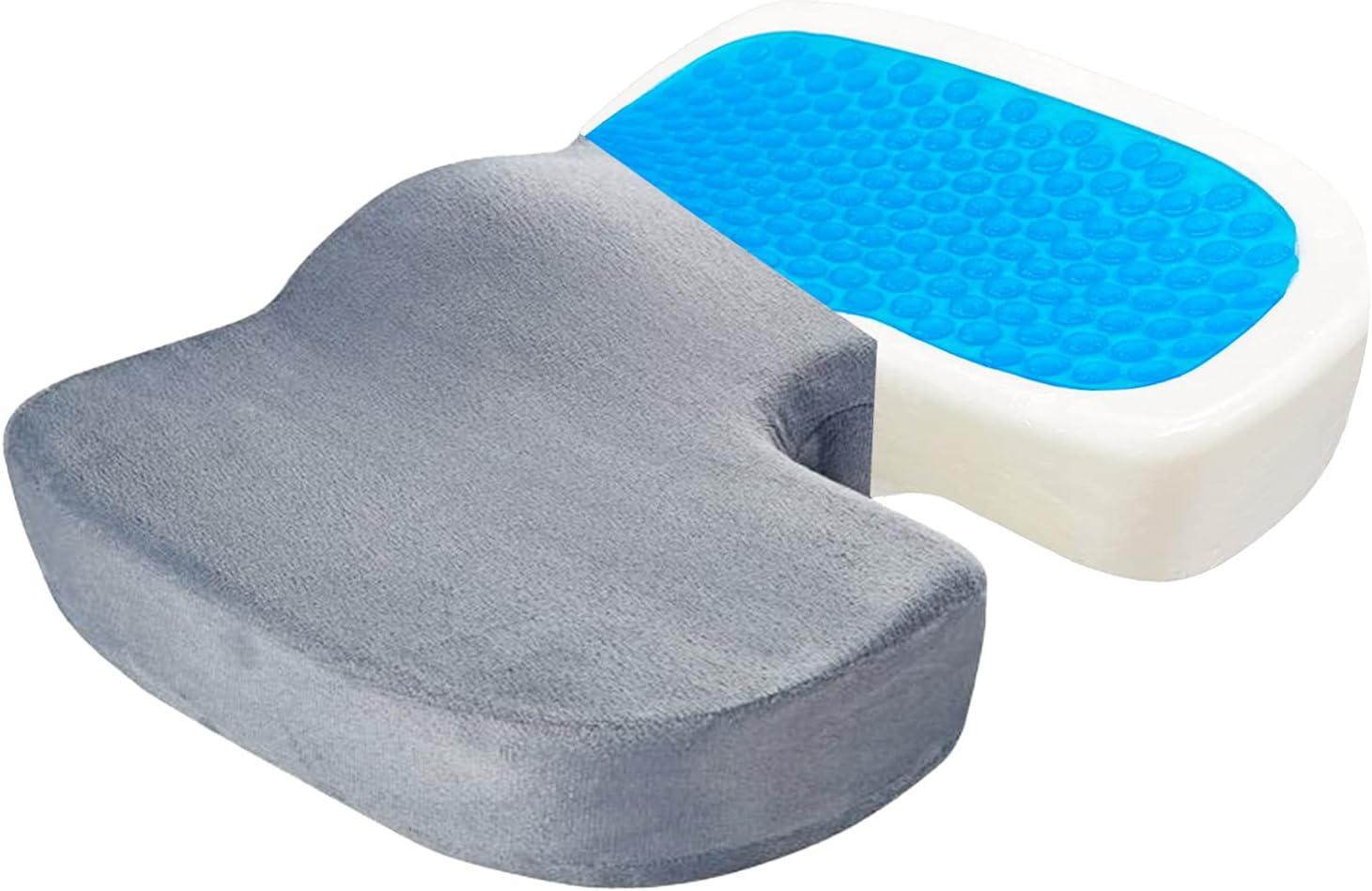 CARPESUN Memory Foam Gel Seat Cushion for Office Chair, Desk Chair, Wheelchair, Car Seat—Sciatica Tailbone Coccyx Lower Back Lumbar Hip Pain Relief Pressure Relief Seat Cushion(Gray)