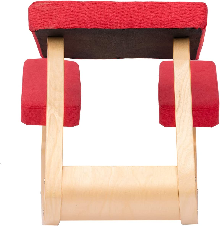 Rot ENMSPLUS Ergonomischer Kniestuhl B/ürostuhl kniender Hocker Wirbels/äulen korrektur Stuhl-Stoff