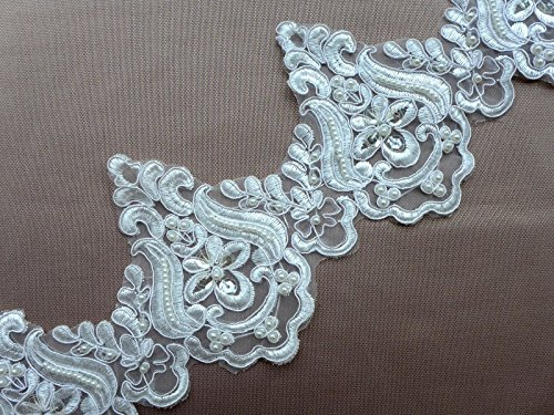 5''off-white Embroidery Beaded sequined lace trim gorgeous lace trim by the yard for fabric Millinery accent motif dress decoration bridal lace wedding lace trim - Lace Trim Yard