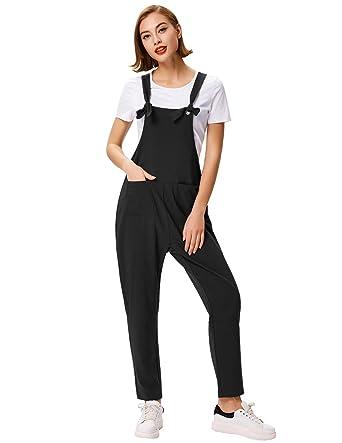 3c731d22ed GRACE KARIN Women s Casual Overalls Baggy Jumpsuit Romper Bib Pants (Black