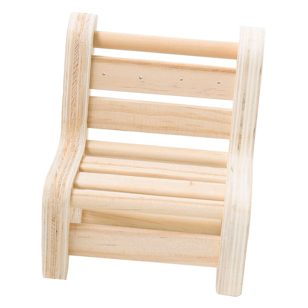 MagiDeal Natural Wood Ring Display Stand Organizer Holder Miniature Home Furniture - Short Bench