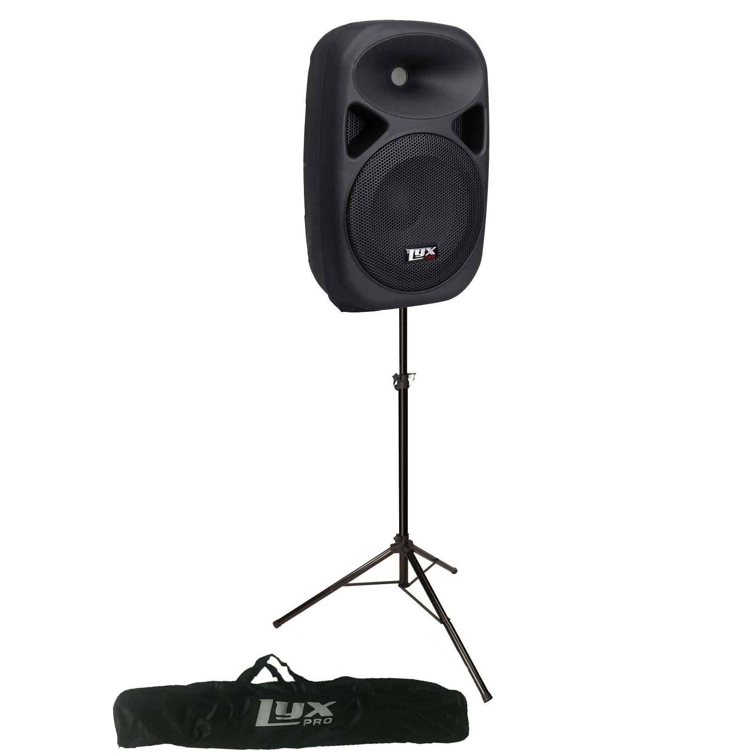 LyxPro SPEAKER w/ STAND KIT: 10'' Portable PA SPEAKER SYSTEM w/ Onboard Equalizer, Bluetooth, SD CARD SLOT, USB, AUX Input, SPEAKER STAND with BAG