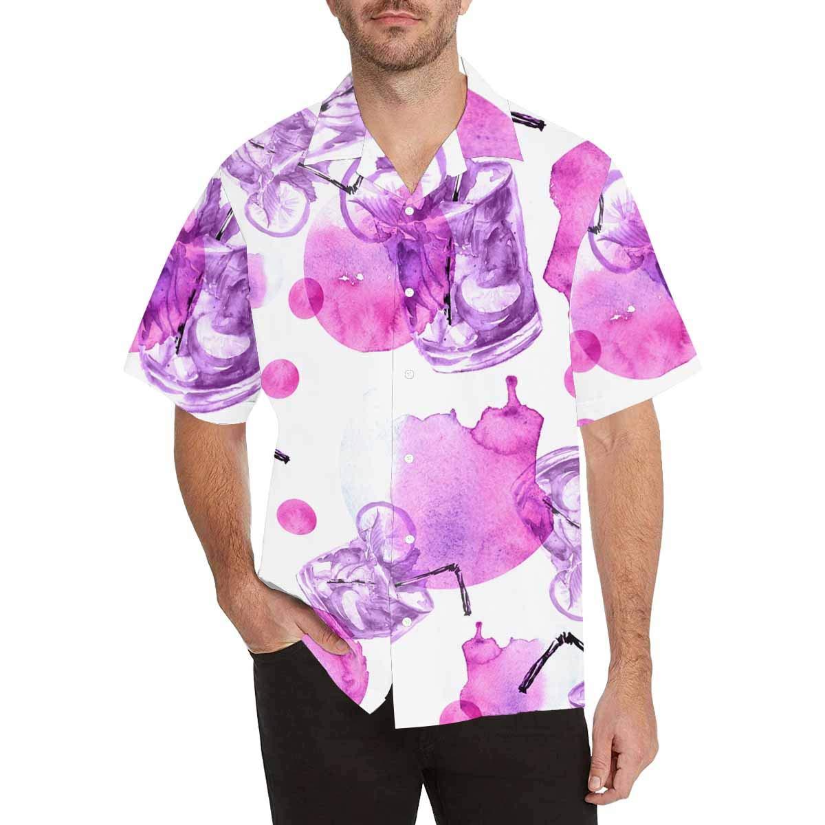 InterestPrint Hawaiian Lemon Ice Mojito Smoothies T-Shirt Summer Short Sleeve Shirts
