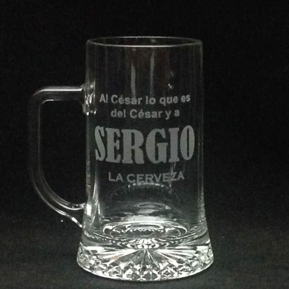 regalo grabado Jarra Cerveza Personalizada y grabada con Dibujo, Nombre, Logo, Escudo. como desee (Asa a la Izquierda)