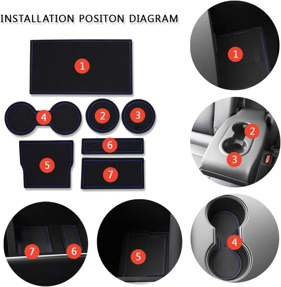 Black and Red Combination CoolKo Newest and Improved Anti-dust Non-Slip Interior Door Cup Arm Box Storage Mat Pad for Tesla Model X Fiber Sticker