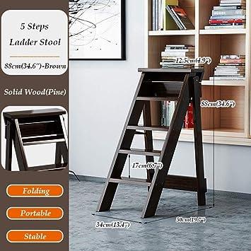 GBX Taburete de Peldaño Multifuncional para el Hogar, Escaleras Plegables de Madera Taburetes de Peldaño Escalera de Taburete de Escalada Multifunción 5 Pasos: Amazon.es: Bricolaje y herramientas
