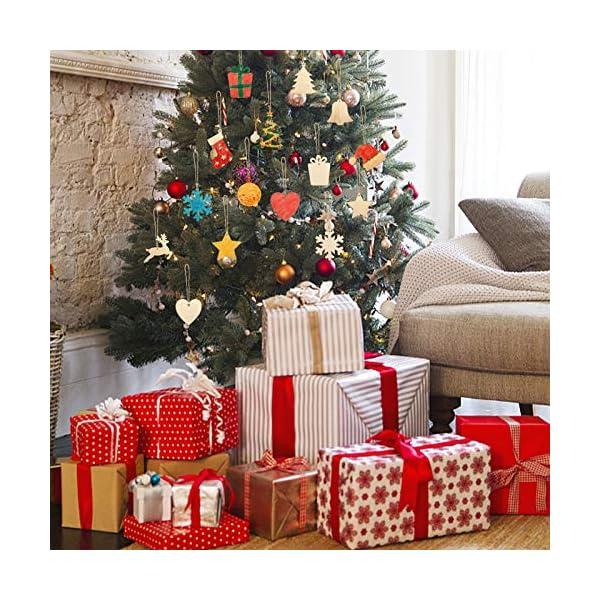 KATELUO 100 Pezzi Decorazioni Natalizie in Legno, Natale Ciondolo in Legno, Decorazioni Albero di Natale in Legno, Ornamenti Natalizi in Legno per Decorare Albero di Natale Fai da Te Etichette Regalo 2 spesavip