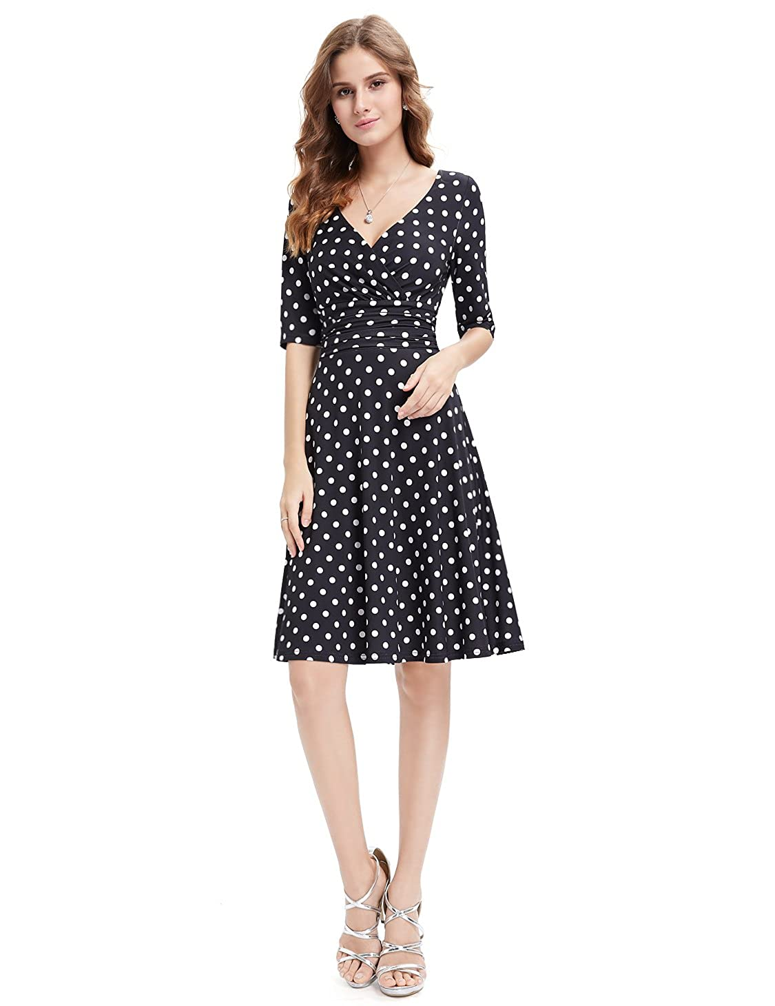 2f7d7875c1e Ever-Pretty 3 4 Sleeve Ruched Waist Classy V-Neck Casual Cocktail Dress  03632 at Amazon Women s Clothing store