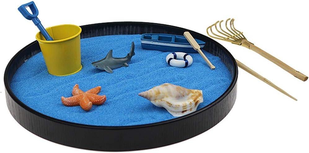 Zen Garden Kit,Zen Garden,Sea World Sandbox Sandbox Sand Tray Play Kit Sand Box Gift Set for Kid Adults Office