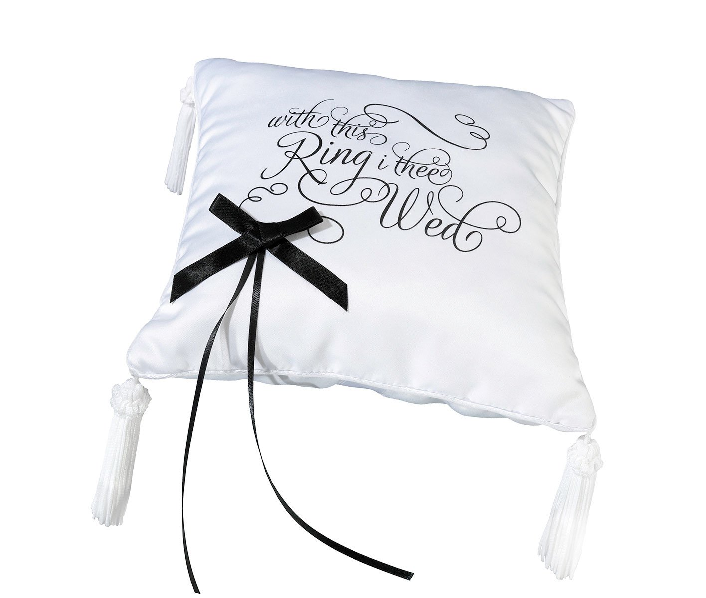 Lillian Rose Black and White Satin Wedding Ring Pillow by Lillian Rose