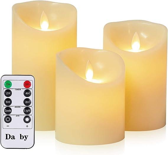 Apricot Kerzen aus Echtwachs im Set mit Fernbedienung und Timer Stumpenkerzen 10 LED Echtwachskerzen mit Docht