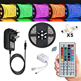 Led Strip Fairy Light Kit 5050 5M 150 Leds RGB + 44 Key Remote Controller + 12V 3A UK Charg