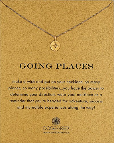 Dogeared Going Places Compass Disc Gold Dipped Chain Necklace, 18'' by Dogeared
