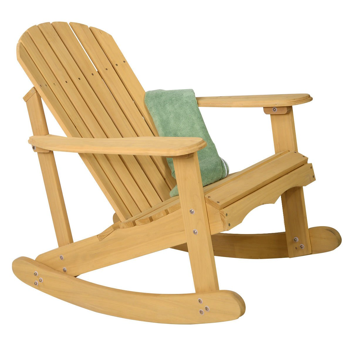 giantex adirondack chair outdoor natural fir wood rocking chair patio deck garde ebay. Black Bedroom Furniture Sets. Home Design Ideas