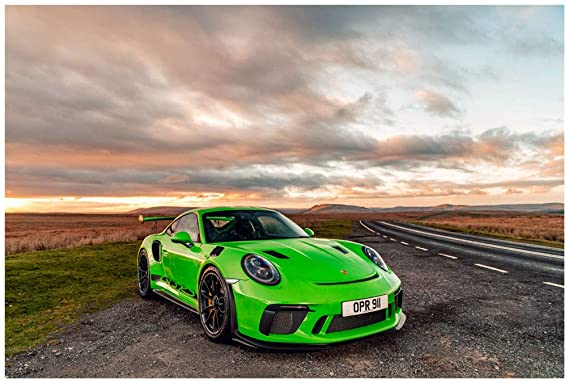 Amazon.com: Porsche 911 GT3 RS UK Spec (2018) Car Art Poster Print on 10 Mil Archival Satin Paper Green Front Side Static View (18