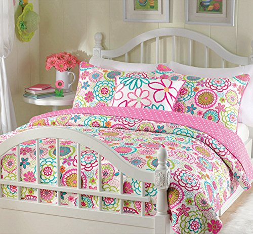 Cozy Line Home Fashions 3-Piece Quilt Bedding Set, Mariah Pink Polka Dot Bedding Quilt Set, Reversible Coverlet Bedspread, Gifts for Kids Girls (Twin - 3pc: 1 quilt + 1 sham + 1 Decorative Pillows) by Cozy Line Home Fashions