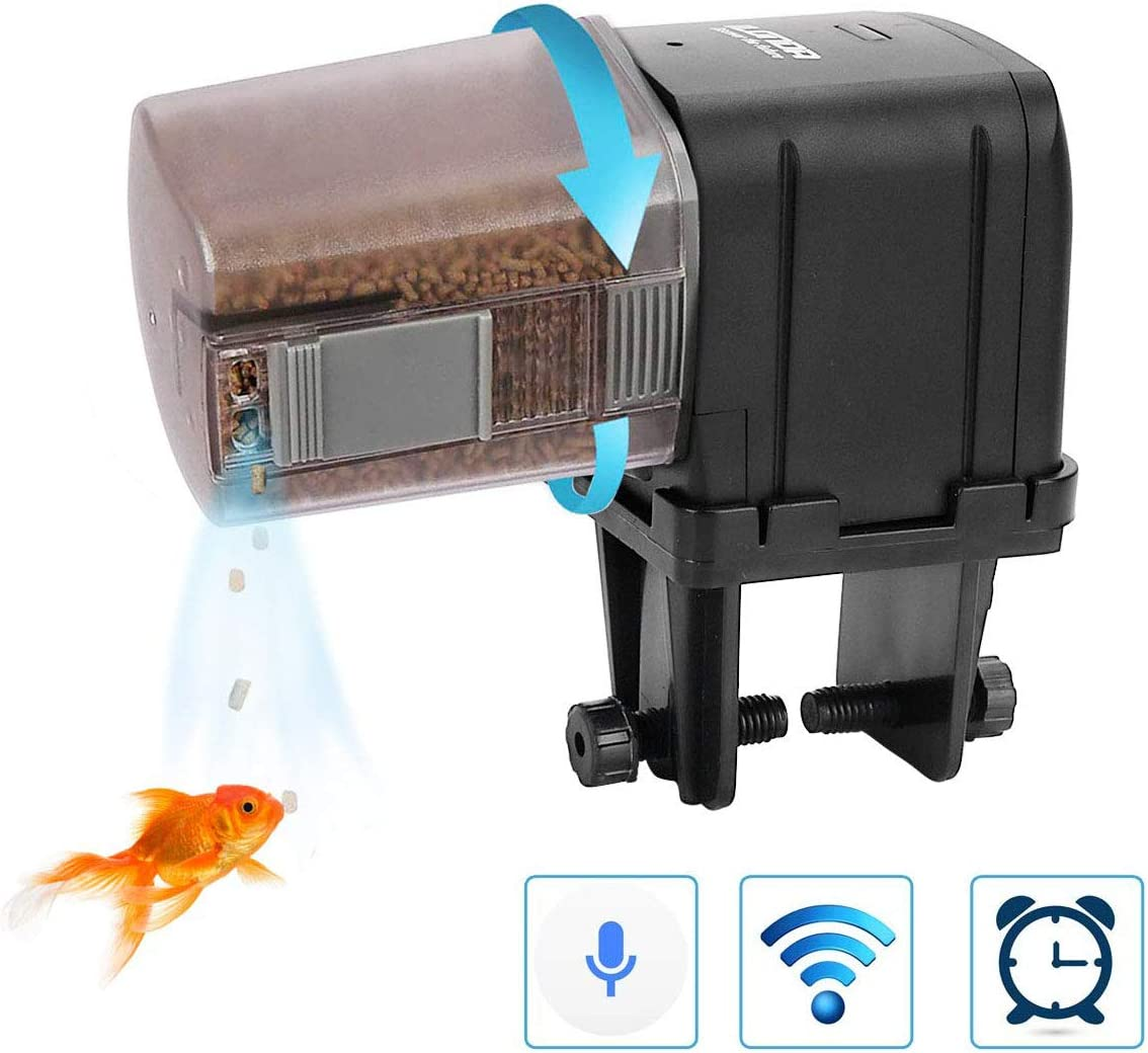 lychee [Upgrade] WiFi Control Automatic Fish Feeder with APP Aquarium Automatic Fish Feeder, WiFi Control Auto Fish Food Dispenser for Home Office