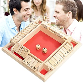 1 juego de 4 vías cerró la caja de juego de dados de madera 4 Números
