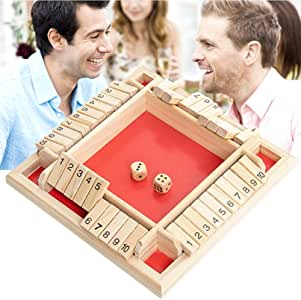 1 juego de 4 vías cerró la caja de juego de dados de madera 4 Números caras grandes de madera Juego de mesa juguete inteligente del juego para el aprendizaje, estrategia y