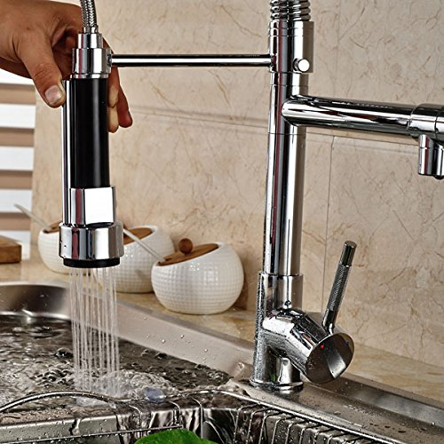 Senlesen Chrome Pull Out Down Spray Deck Mount Kitchen Torneira Cozinha Tap Mixer Cock Faucet with Hot and Cold Water by Senlesen (Image #5)