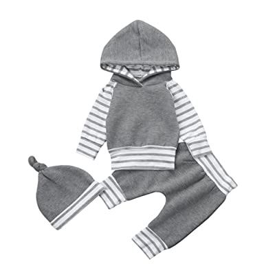 2dae4f872ff Odeer 3PCS Newborn Infant Baby Boy Girl Clothes Set Striped Hoodie  Tops+Pants+Hat Warm Outfits