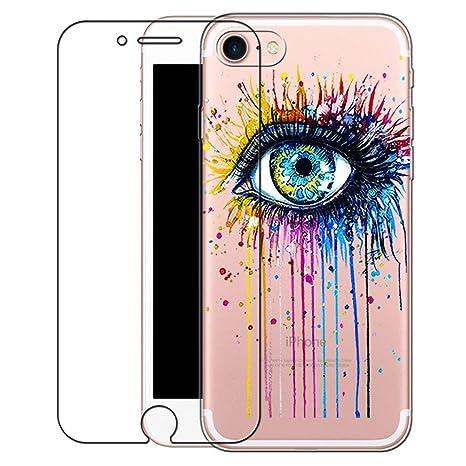 rivenditore di vendita f3b93 8ed9e Custodia iPhone 6/6s [Pellicola Protettiva In Vetro Temperato], Bestsky  Cover iPhone 6s Trasparente con Disegni Morbida Gel Silicone Antiurto  Bumper ...