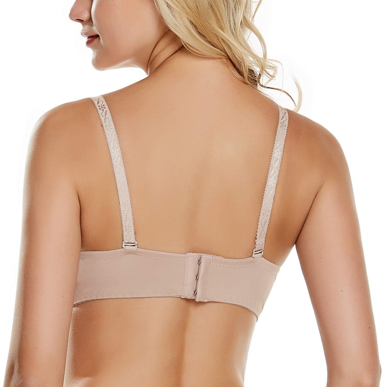 Women Bras Thick Cup Push Up Lace Back Closure Plus Size Lingerie,Cameo,C,40