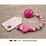 kleinerStorch kS-013-1 Baby Schnullerkette mit Namen - Schnullerhalter mit Wunschnamen - Mädchen Motiv Herz, pink