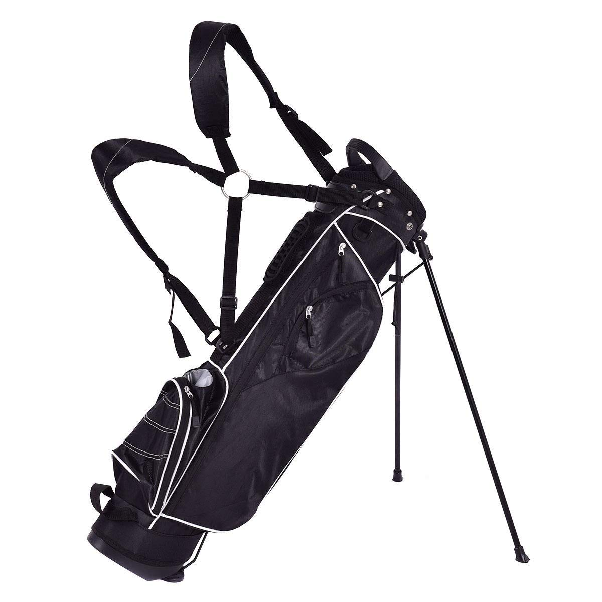 BeUniqueToday Golf Stand Cart Bag w/ 4 Way Divider Carry Organizer Pockets, Ergonomically Designed Golf Stand Cart Bag, Golf Stand Cart Bag with Durable Automatic Stand with Anti-Slip Foot Pads