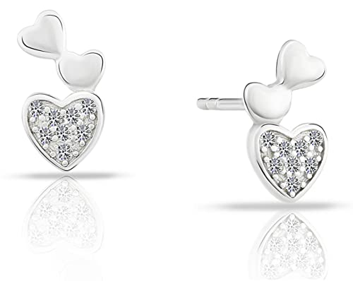 b5cd7a05d Image Unavailable. Image not available for. Color: Tiny Sterling Silver  Triple Heart Stud Earrings ...