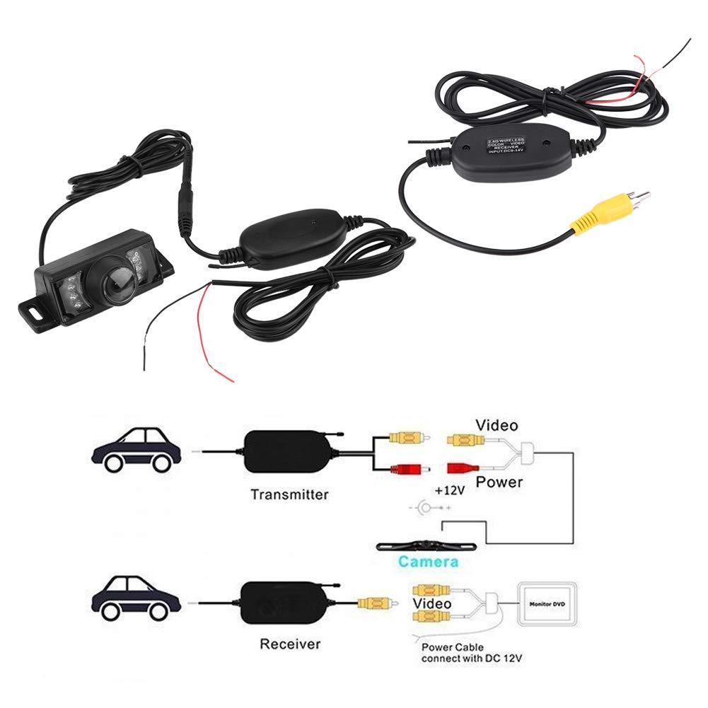 7pcs IR LED Night Version Car Reverse Backup Camera Wireless RCA Video Transmitter /& Receiver Car Reverse Camera