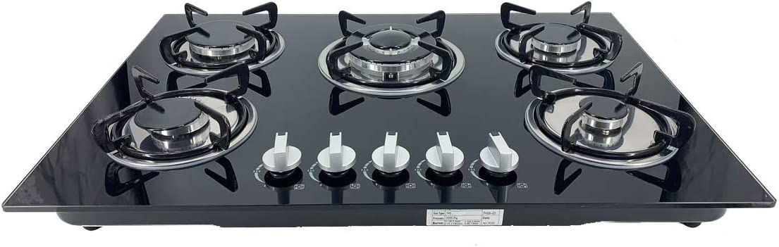30Inch ECUTEE 30 Built-in Gas Cooktop in Black Tempered Glass with 5 Burners Stove Burner LPG//NG Dual Fuel,High Power Convertible Natural Gas Propane Cooktops Burner,Easy to Clean