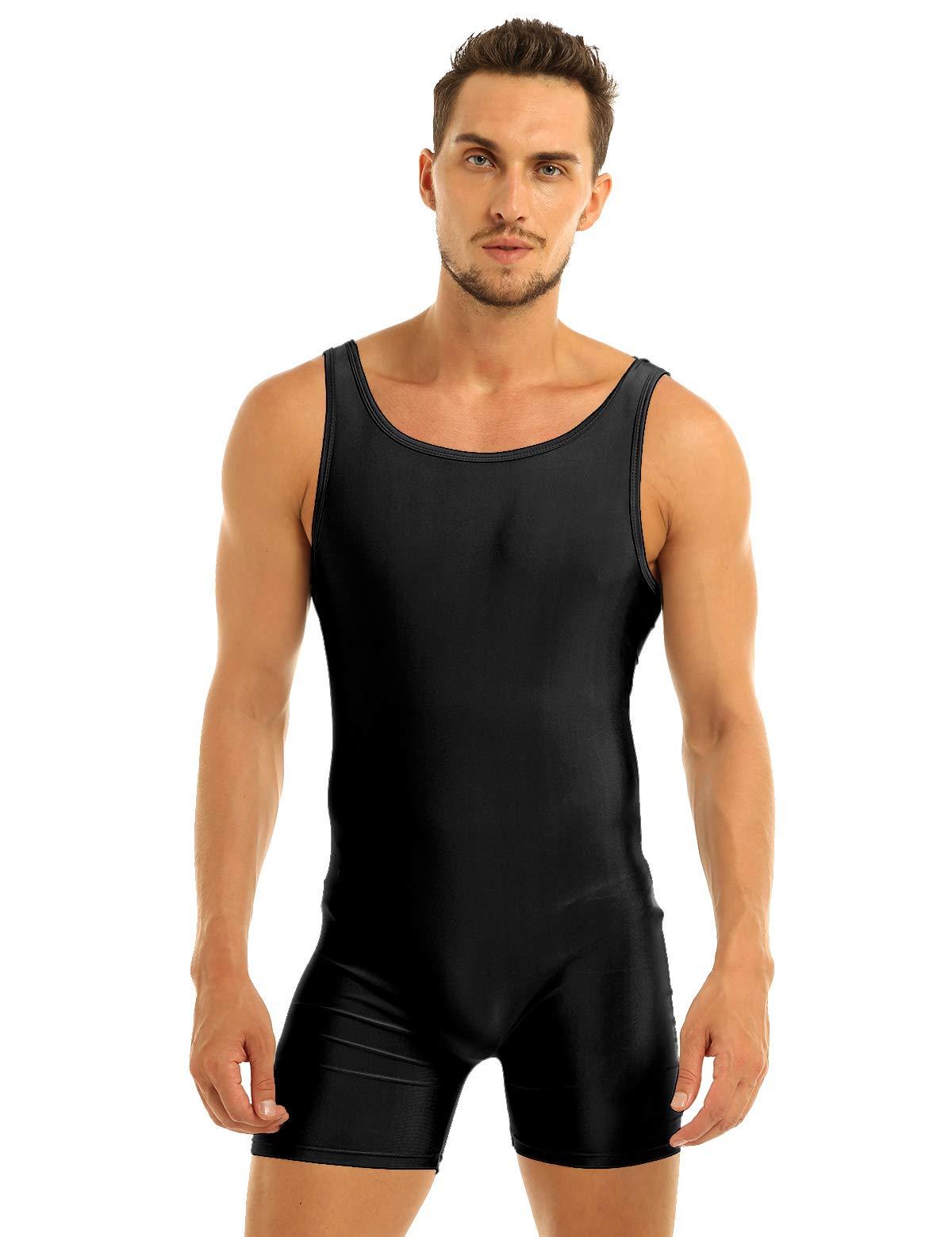 Inlzdz Mens Lycra Spandex Sleeveless Tank Tops One Piece Gym Sport Workout Leotard Bodysuit Black Medium