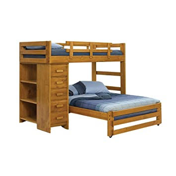 Twin Over Full L Shaped Bunk Bed With Chest And Bookcase Amazon Co