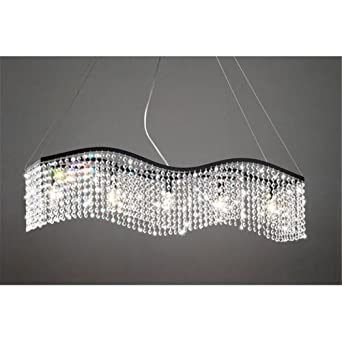 Modern Linear Rectangular Island Dining Room Crystal Chandelier