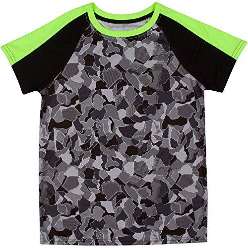 oys' Short Sleeve Performance Tee, Lime Glo/Camo, 5 (Camouflage Camo New T-shirt)