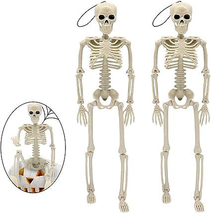 Halloween Skull Decorations.Amazon Com Halloween Skeletons Halloween Decorations Skull 16 Full Body Realistic Faux Human Skeleton Halloween Skull Decor 2 Packs Toys Games
