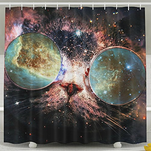 Galaxy Cat Sunglasses Universe 100% Polyester Shower Curtain Waterproof Fabric Bathroom Decor Shower Curtain 60''X72'',72''x72'' And 72''X78'' Inches Included Rings Shower - Pattinson Robert Sunglasses