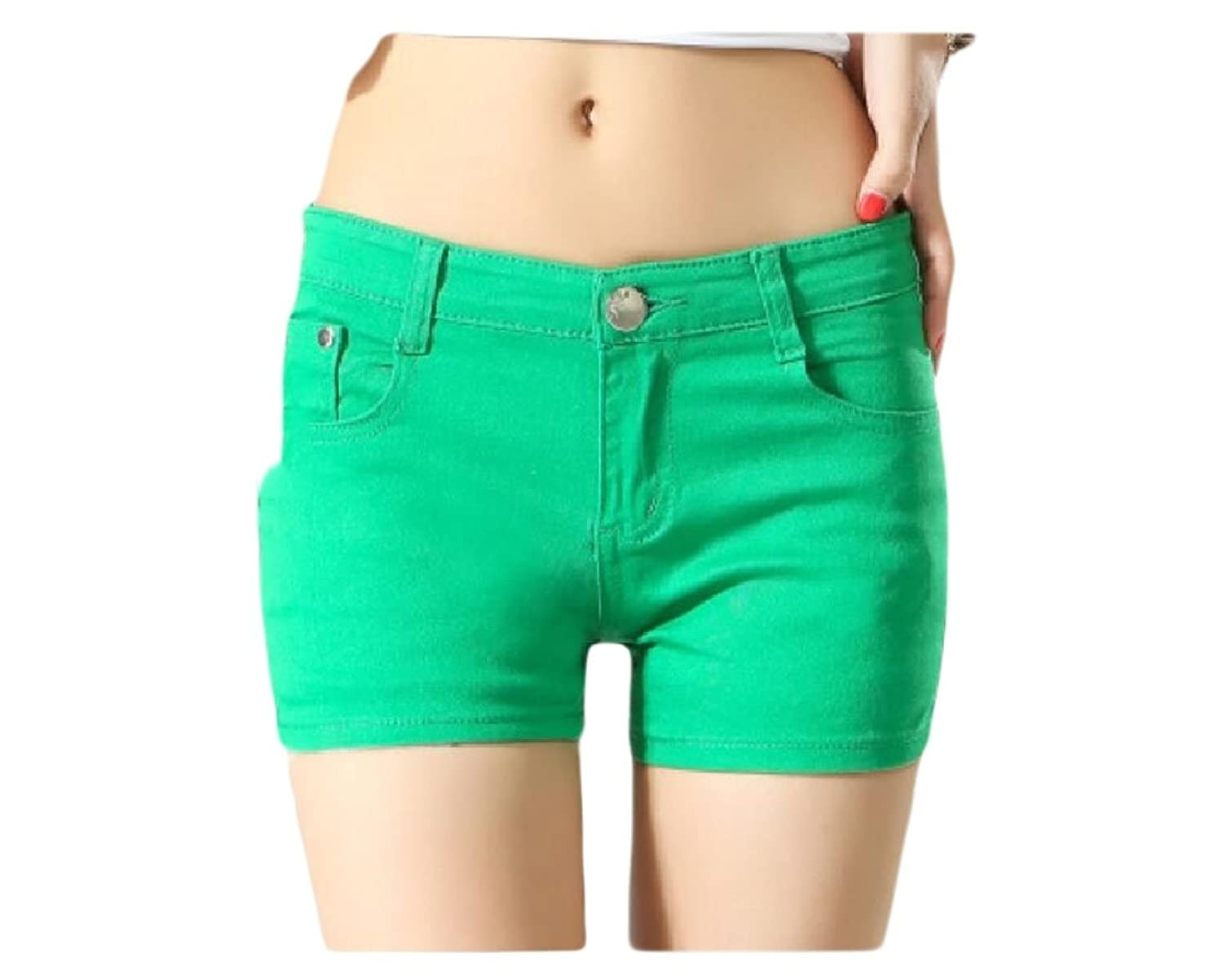 Abetteric Women Short Summer Shorts Skinny Summer Leisure Mulit Color Shorts Jeans Green XS