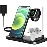 QI-EU Wireless Charger, 4 in 1 Qi-Certified 18W Fast Charging Station Compatible Apple Watch Airpods iPhone Se/11/11pro/X/XS/
