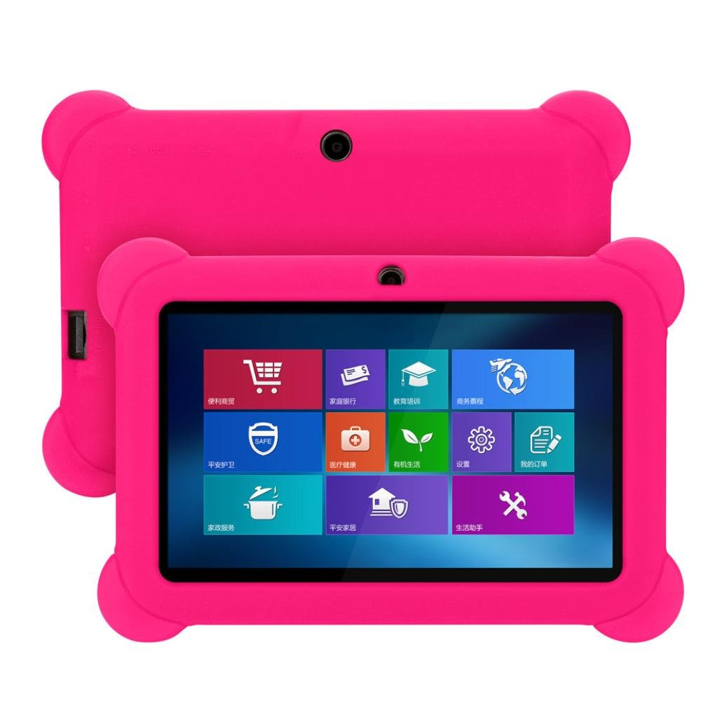 Case for 7 Inch Android Tablet Q88 - Silicone Gel Protective Back Case Cover [On Sale ] (Hot Pink)