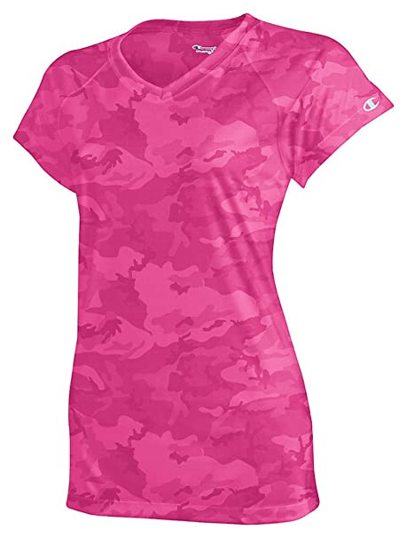 279884e5818afa Champion Women s Essential Double Dry V-Neck T-Shirt Wow Pink ...
