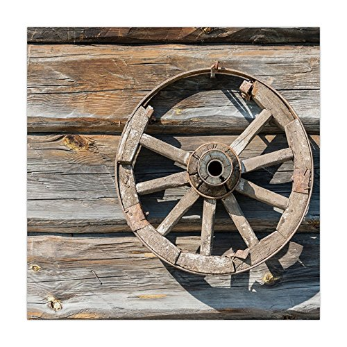 Wagons Cartwheels - iPrint Satin Square Tablecloth,Barn Wood Wagon Wheel,Old Log Wall with Cartwheel Telega Rural Countryside Themed Image Decorative,Umber Beige,Dining Room Kitchen Table Cloth Cover