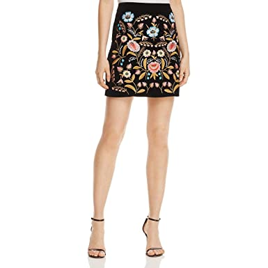 47eb378be7a9 Lucy Paris Womens Velvet Embroidered Mini Skirt Black M at Amazon Women's  Clothing store: