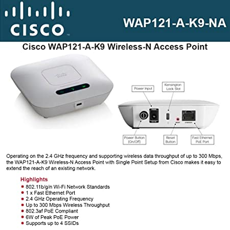Cisco Systems Small Business 1 WAP121-A-K9-NA WAP121 WL N Access Point With POE Wireless Access Points at amazon