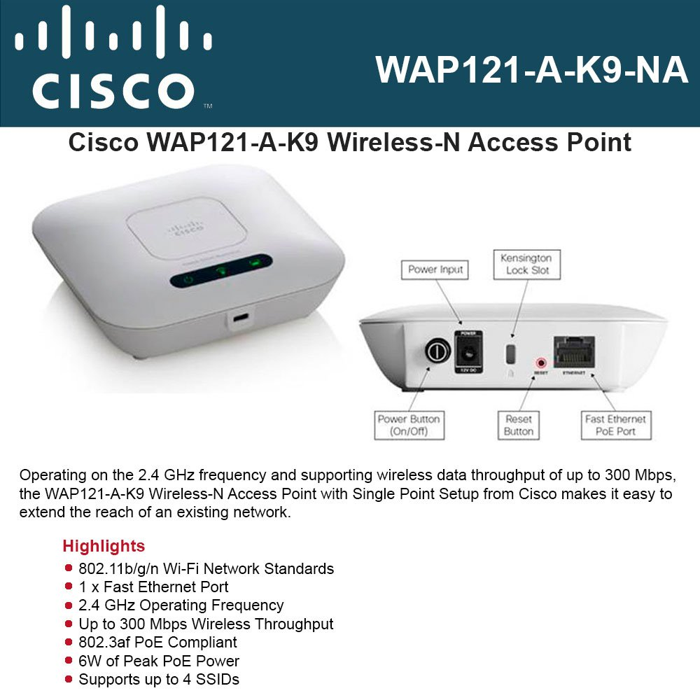 CISCO SMALL BUSINESS 1 WAP121-A-K9-NA WAP121 WL N ACCESS POINT WITH POE