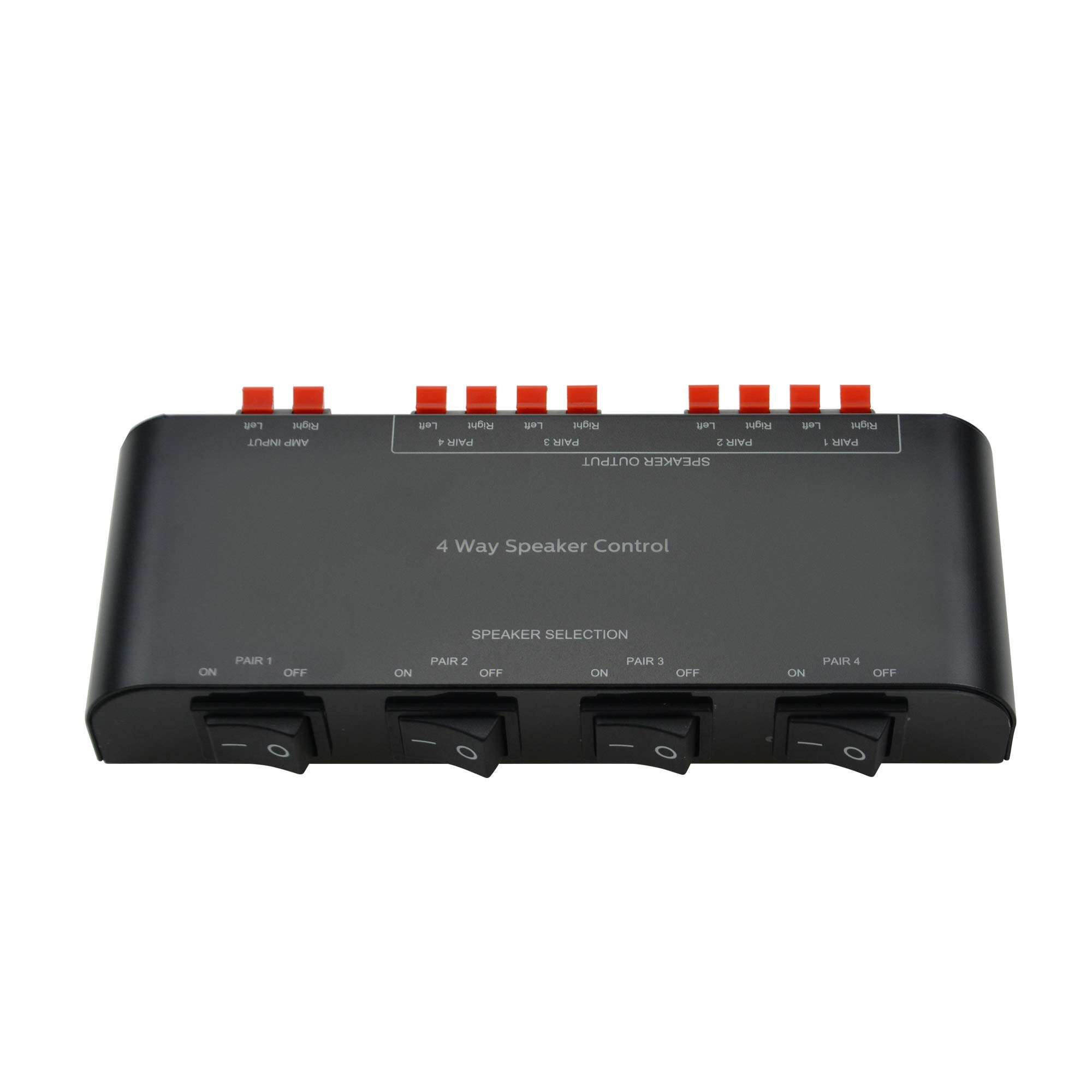 A ADWITS 4-Channel Speaker Switcher Selector Box with Terminal Claps 200W RMS Max 100W Switchable, Black by A ADWITS